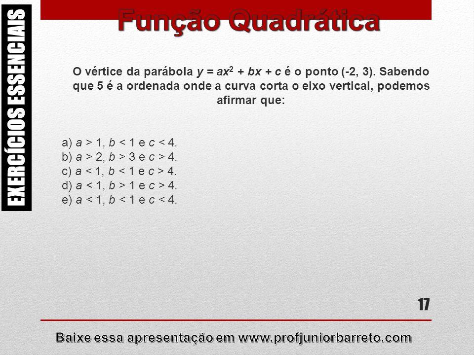 17 EXERCÍCIOS ESSENCIAIS O vértice da parábola y = ax 2 + bx + c é o ponto (-2, 3). Sabendo que 5 é a ordenada onde a curva corta o eixo vertical, pod