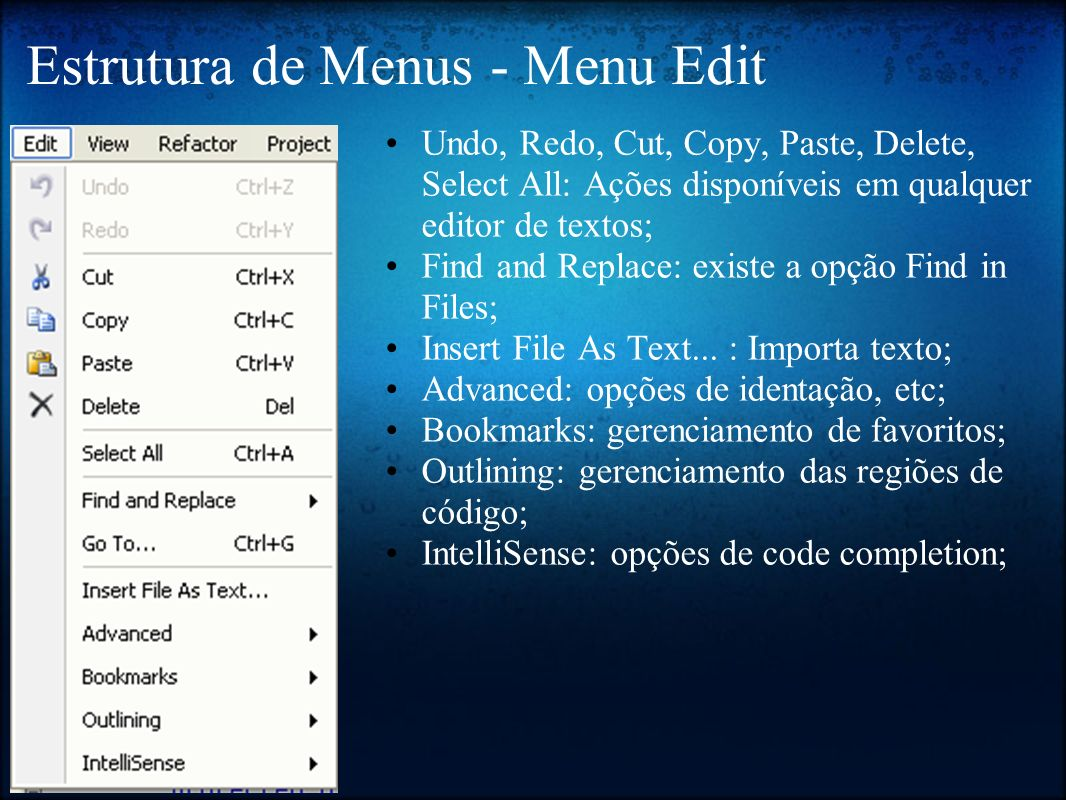 Estrutura de Menus - Menu Edit Undo, Redo, Cut, Copy, Paste, Delete, Select All: Ações disponíveis em qualquer editor de textos; Find and Replace: exi