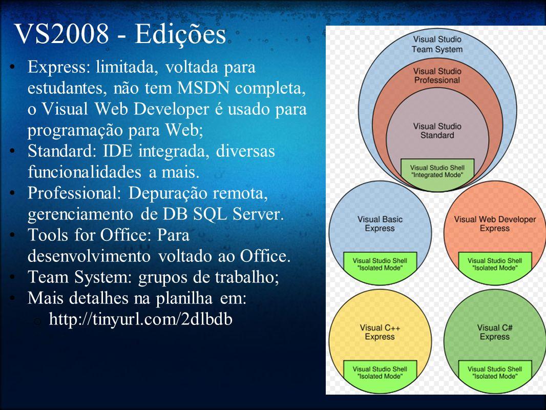 VS2008 - Edições Express: limitada, voltada para estudantes, não tem MSDN completa, o Visual Web Developer é usado para programação para Web; Standard