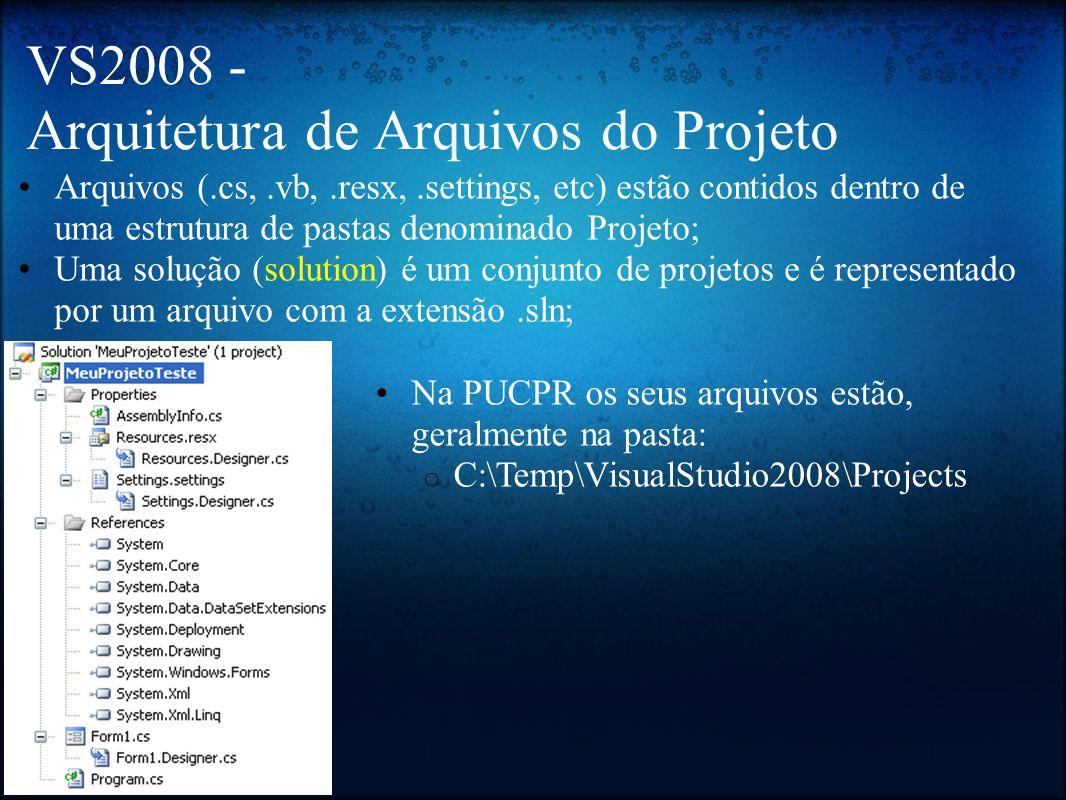 VS2008 - Arquitetura de Arquivos do Projeto Arquivos (.cs,.vb,.resx,.settings, etc) estão contidos dentro de uma estrutura de pastas denominado Projet