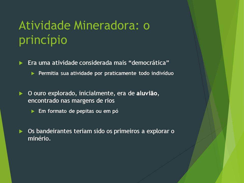 Atividade Mineradora: o princípio Era uma atividade considerada mais democrática Permitia sua atividade por praticamente todo indivíduo O ouro explora