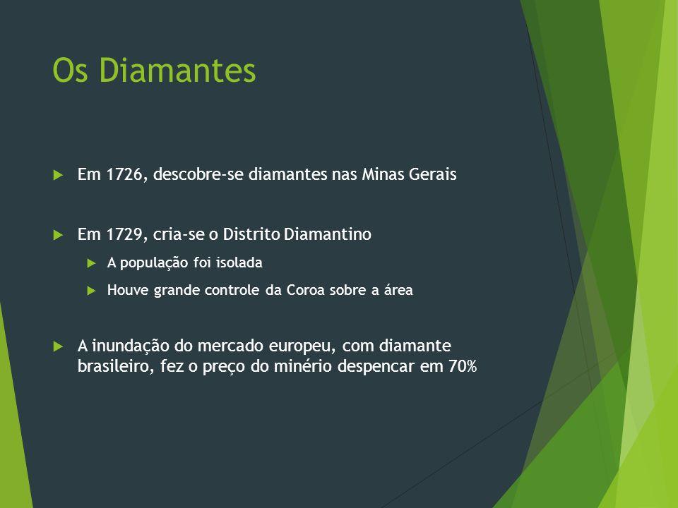 Os Diamantes Em 1726, descobre-se diamantes nas Minas Gerais Em 1729, cria-se o Distrito Diamantino A população foi isolada Houve grande controle da C