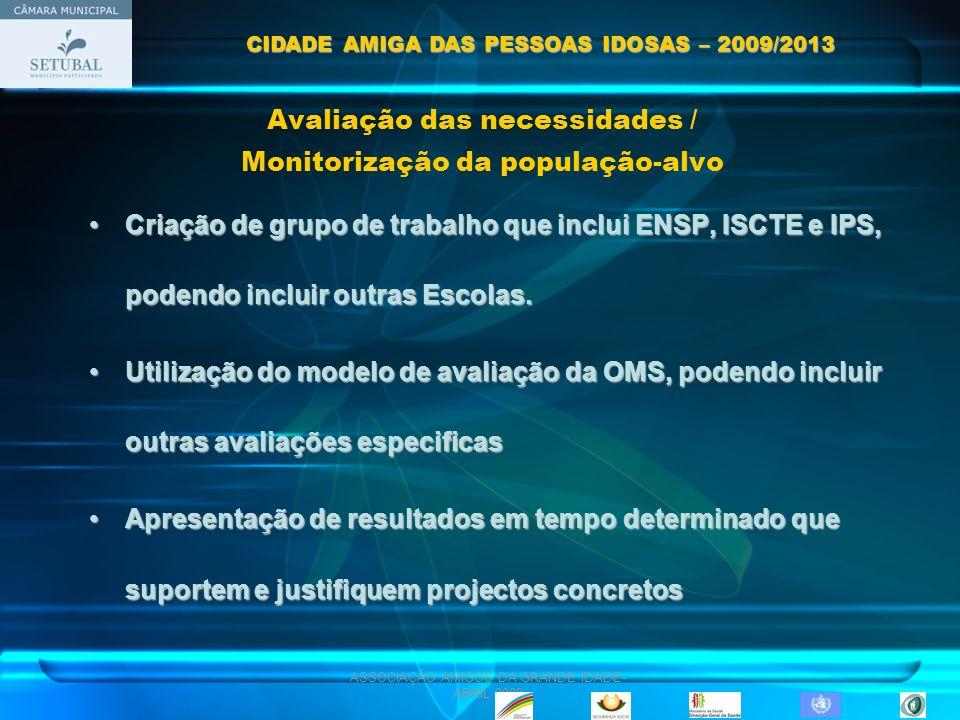 ASSOCIAÇÃO AMIGOS DA GRANDE IDADE- ABRIL 2009 Avaliação das necessidades / Monitorização da população-alvo Criação de grupo de trabalho que inclui ENS