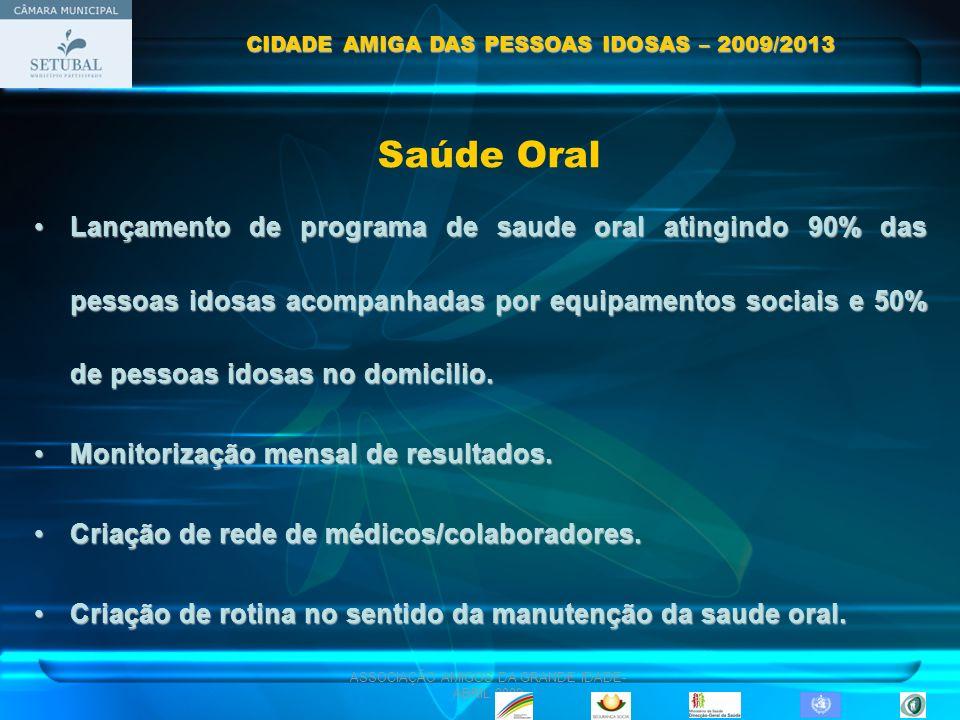 ASSOCIAÇÃO AMIGOS DA GRANDE IDADE- ABRIL 2009 Saúde Oral Lançamento de programa de saude oral atingindo 90% das pessoas idosas acompanhadas por equipa
