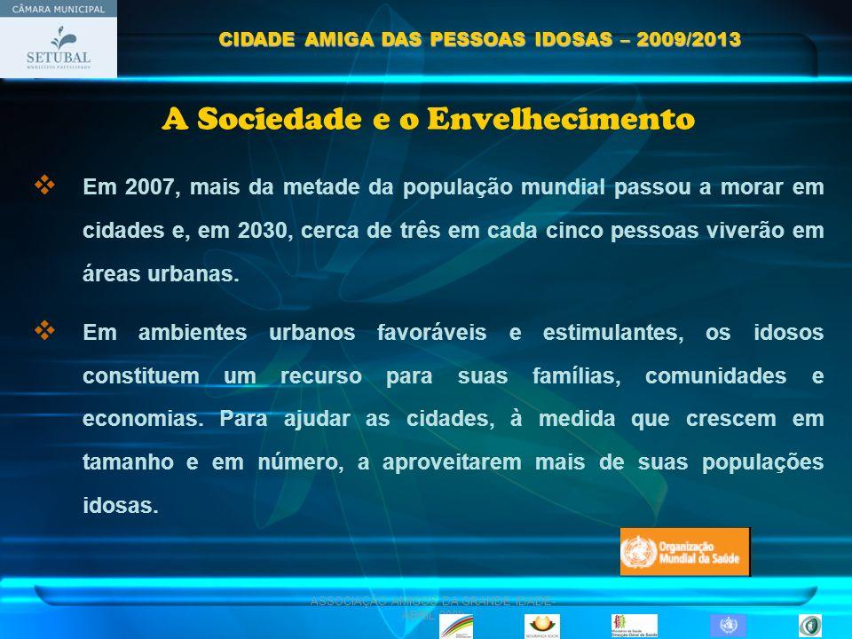 ASSOCIAÇÃO AMIGOS DA GRANDE IDADE- ABRIL 2009 OPERACIONALIZAÇÃO FASE I: Institucionalização FASE II: Divulgação FASE III: Inicio dos Projectos Nucleares CIDADE AMIGA DAS PESSOAS IDOSAS – 2009/2013