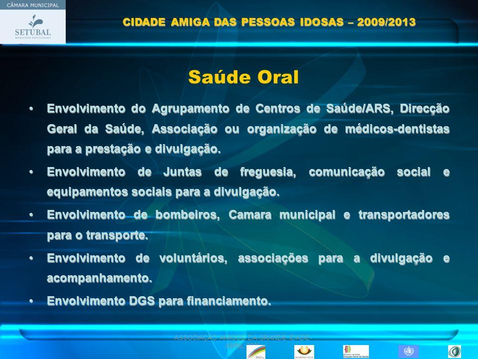 ASSOCIAÇÃO AMIGOS DA GRANDE IDADE- ABRIL 2009 Envolvimento do Agrupamento de Centros de Saúde/ARS, Direcção Geral da Saúde, Associação ou organização