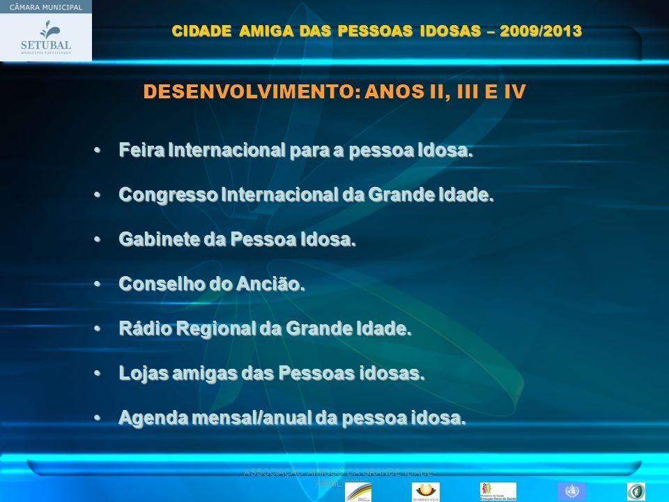 ASSOCIAÇÃO AMIGOS DA GRANDE IDADE- ABRIL 2009 DESENVOLVIMENTO: ANOS II, III E IV Feira Internacional para a pessoa Idosa.Feira Internacional para a pe