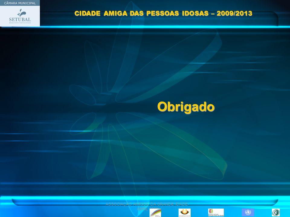 ASSOCIAÇÃO AMIGOS DA GRANDE IDADE- ABRIL 2009 Obrigado CIDADE AMIGA DAS PESSOAS IDOSAS – 2009/2013