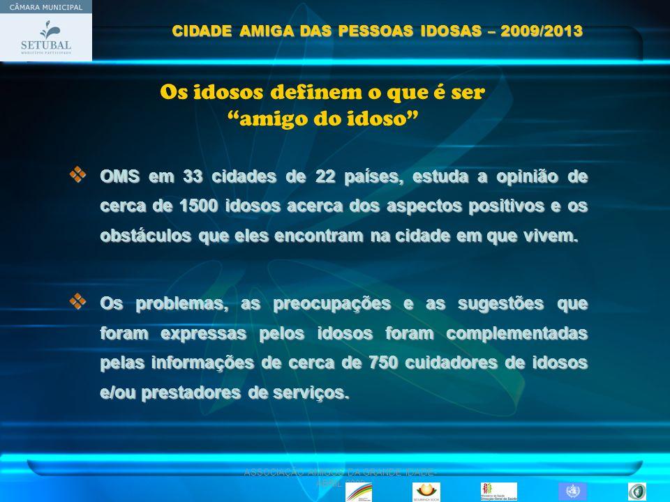 ASSOCIAÇÃO AMIGOS DA GRANDE IDADE- ABRIL 2009 Os idosos definem o que é ser amigo do idoso 1.