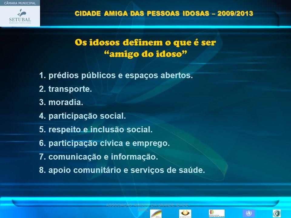 ASSOCIAÇÃO AMIGOS DA GRANDE IDADE- ABRIL 2009 Os idosos definem o que é ser amigo do idoso 1. prédios públicos e espaços abertos. 2. transporte. 3. mo