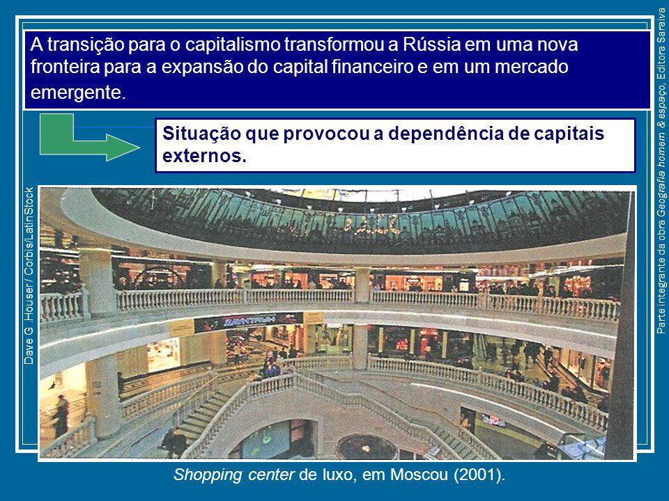 Shopping center de luxo, em Moscou (2001). Dave G.Houser / Corbis/LatinStock A transição para o capitalismo transformou a Rússia em uma nova fronteira