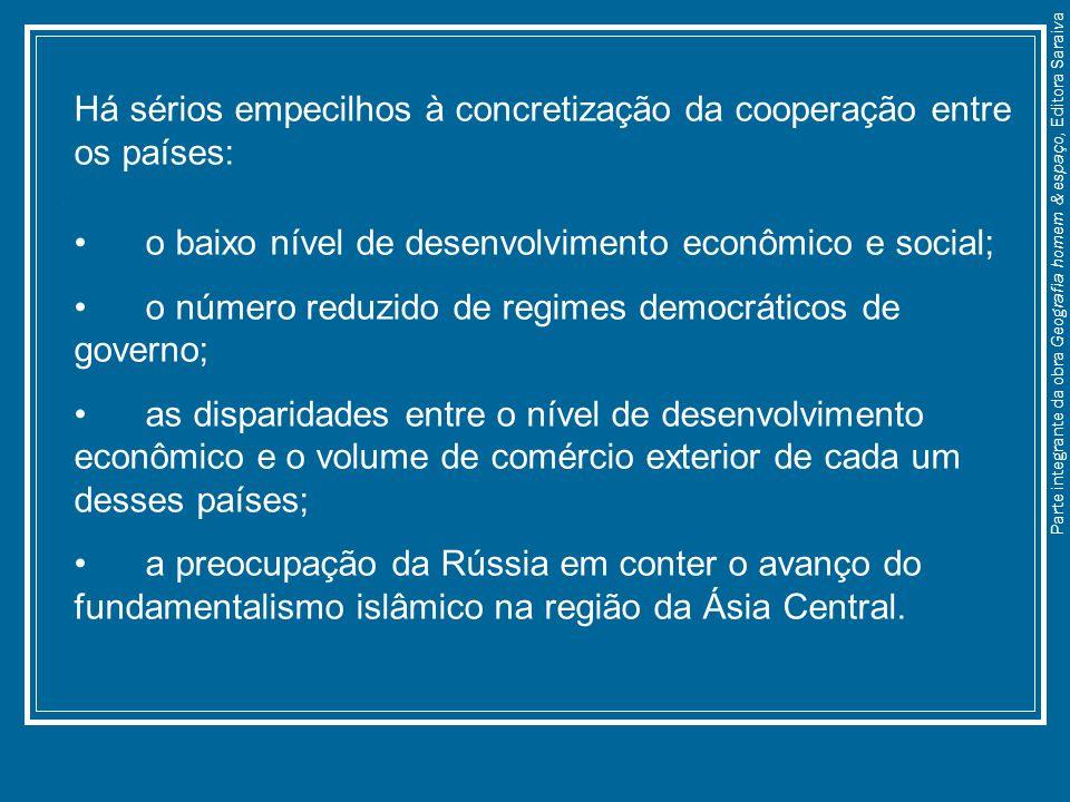 Há sérios empecilhos à concretização da cooperação entre os países: o baixo nível de desenvolvimento econômico e social; o número reduzido de regimes
