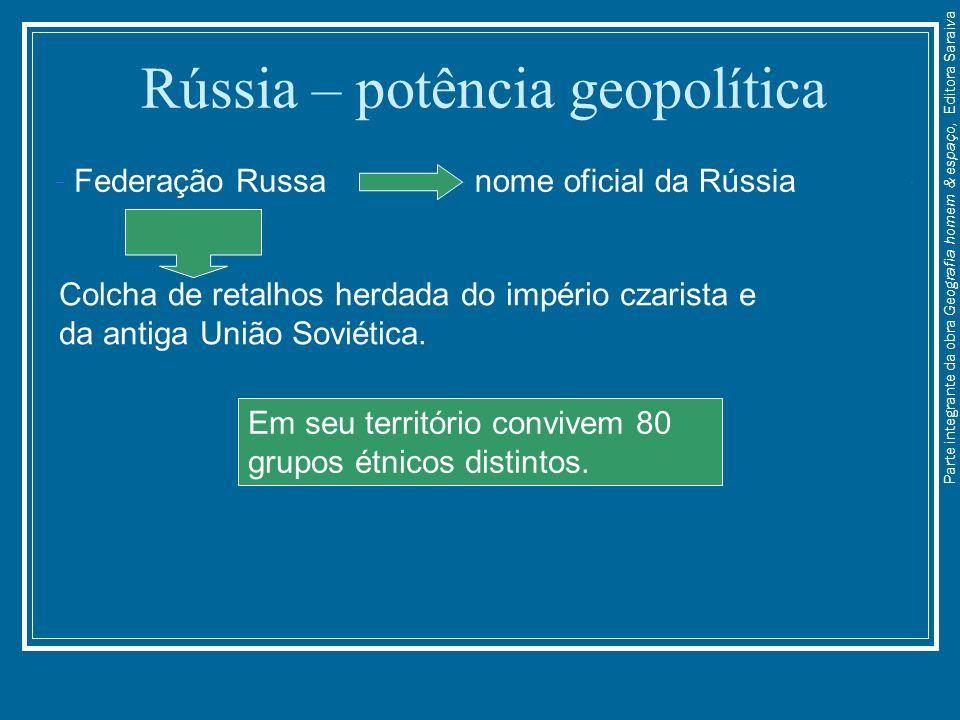 Rússia – potência geopolítica Federação Russanome oficial da Rússia Colcha de retalhos herdada do império czarista e da antiga União Soviética. Em seu