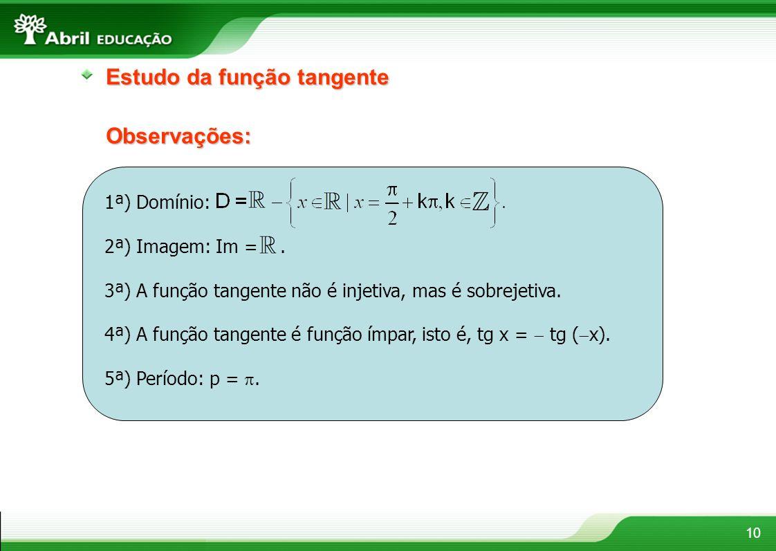 10 Observações: Estudo da função tangente 1ª) Domínio: 2ª) Imagem: Im =. 3ª) A função tangente não é injetiva, mas é sobrejetiva. 4ª) A função tangent