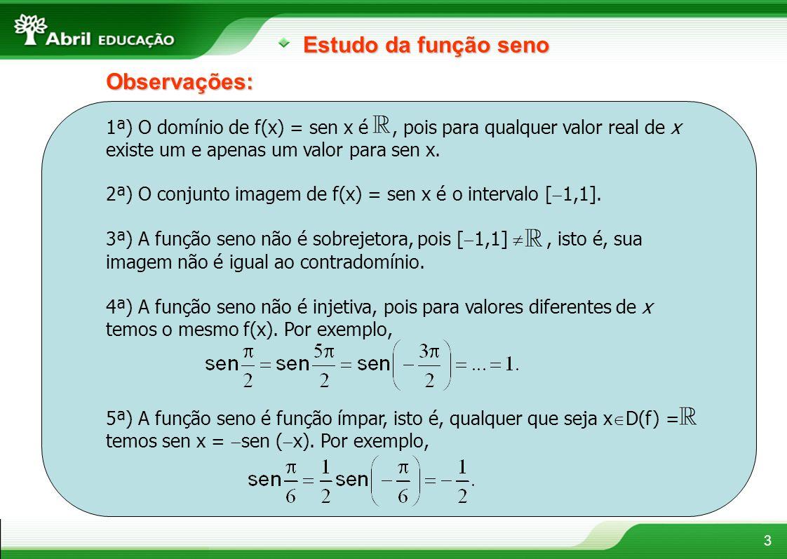 3 Estudo da função seno Observações: 1ª) O domínio de f(x) = sen x é, pois para qualquer valor real de x existe um e apenas um valor para sen x. 2ª) O