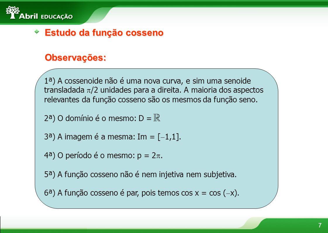 7 Estudo da função cosseno Observações: 1ª) A cossenoide não é uma nova curva, e sim uma senoide transladada /2 unidades para a direita. A maioria dos