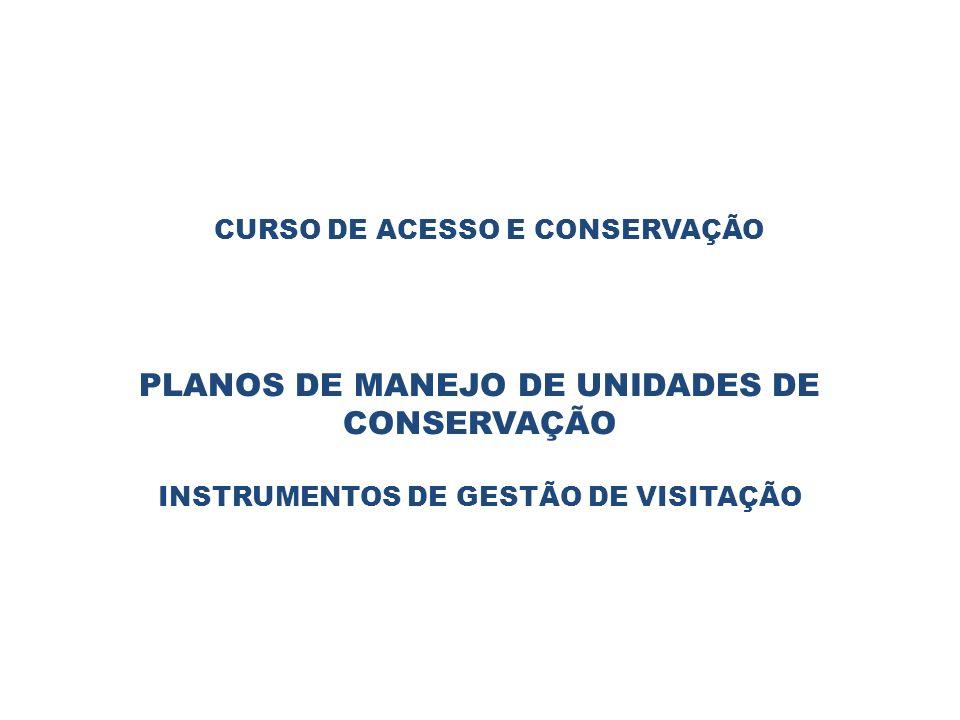 CURSO DE ACESSO E CONSERVAÇÃO PLANOS DE MANEJO DE UNIDADES DE CONSERVAÇÃO INSTRUMENTOS DE GESTÃO DE VISITAÇÃO