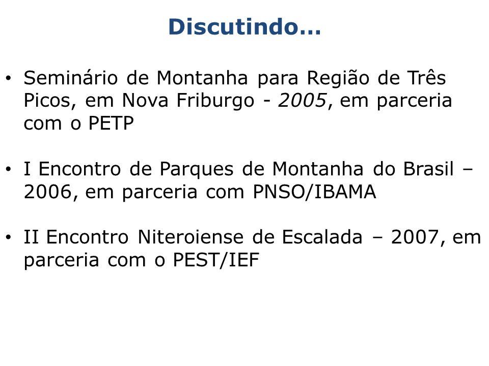 Seminário de Montanha para Região de Três Picos, em Nova Friburgo - 2005, em parceria com o PETP I Encontro de Parques de Montanha do Brasil – 2006, e