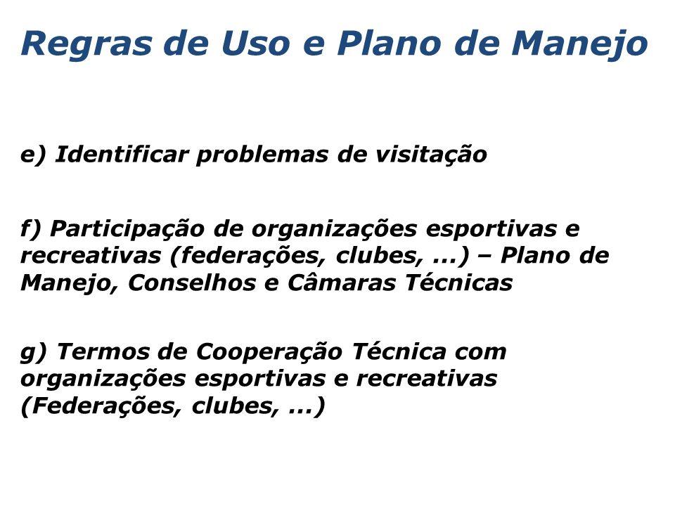 e) Identificar problemas de visitação f) Participação de organizações esportivas e recreativas (federações, clubes,...) – Plano de Manejo, Conselhos e