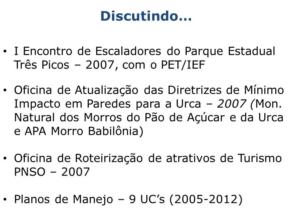 I Encontro de Escaladores do Parque Estadual Três Picos – 2007, com o PET/IEF Oficina de Atualização das Diretrizes de Mínimo Impacto em Paredes para