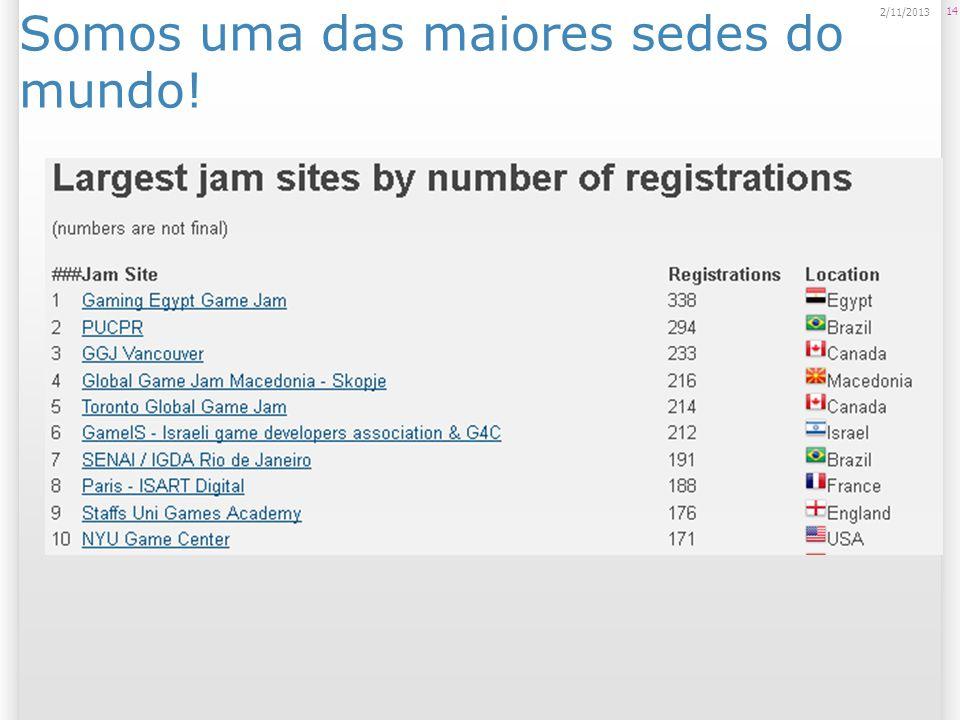 Somos uma das maiores sedes do mundo! 14 2/11/2013