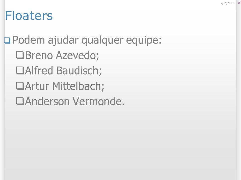 Floaters Podem ajudar qualquer equipe: Breno Azevedo; Alfred Baudisch; Artur Mittelbach; Anderson Vermonde. 16 2/11/2013