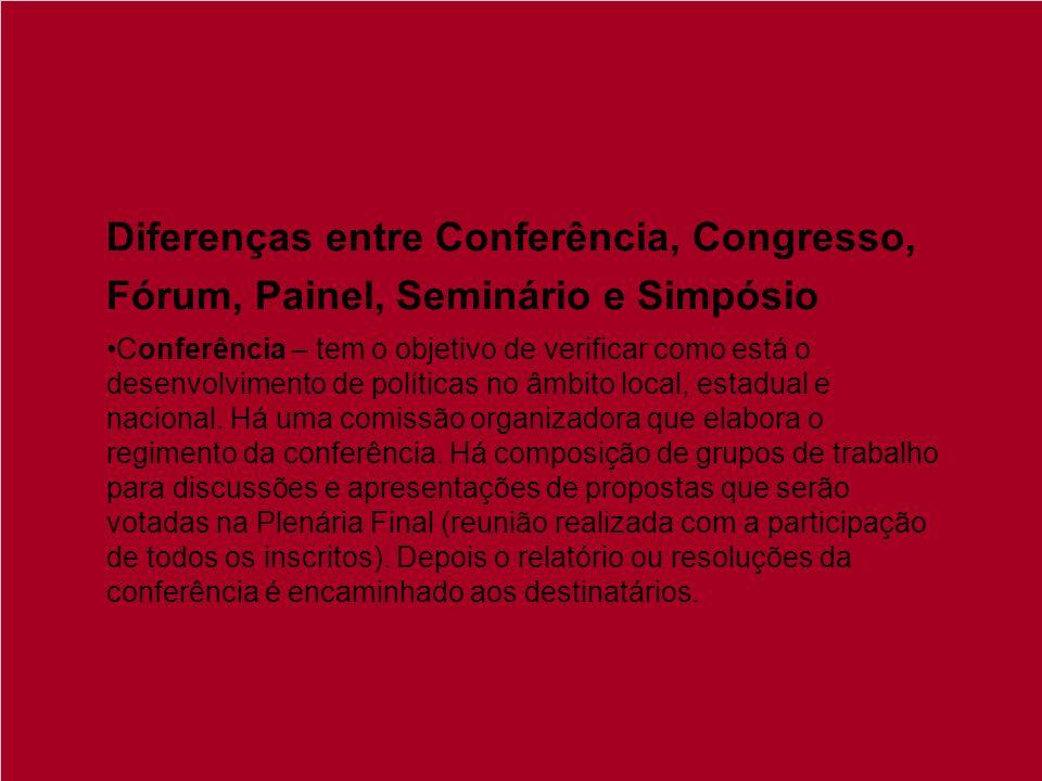 Diferenças entre Conferência, Congresso, Fórum, Painel, Seminário e Simpósio Conferência – tem o objetivo de verificar como está o desenvolvimento de