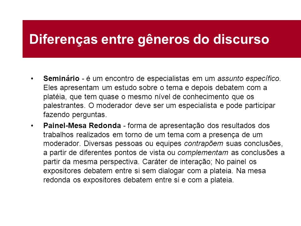 Diferenças entre gêneros do discurso Seminário - é um encontro de especialistas em um assunto específico. Eles apresentam um estudo sobre o tema e dep