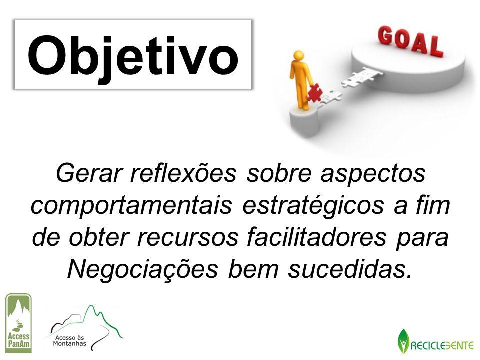 Objetivo Gerar reflexões sobre aspectos comportamentais estratégicos a fim de obter recursos facilitadores para Negociações bem sucedidas.