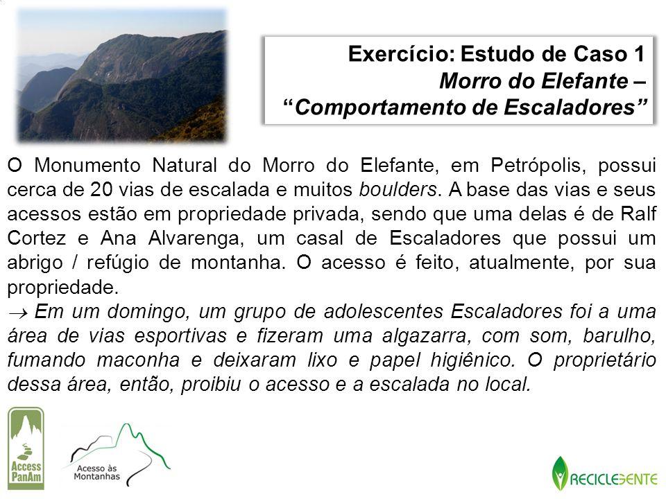 O Monumento Natural do Morro do Elefante, em Petrópolis, possui cerca de 20 vias de escalada e muitos boulders. A base das vias e seus acessos estão e
