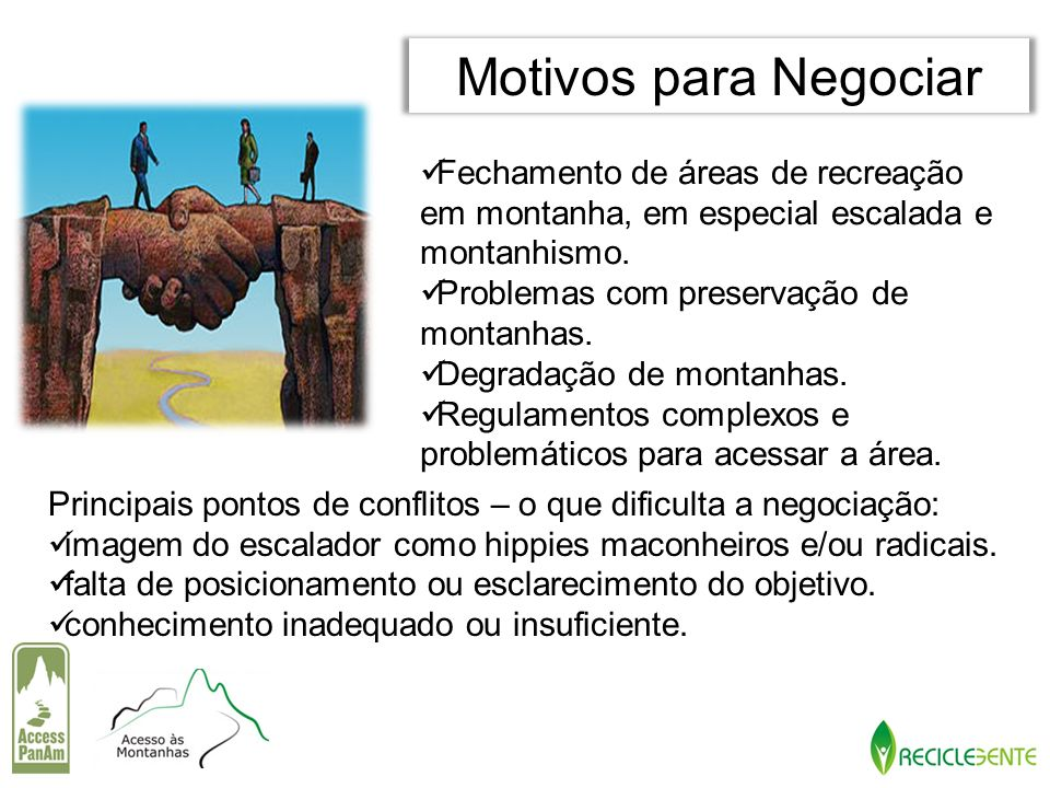 Fechamento de áreas de recreação em montanha, em especial escalada e montanhismo. Problemas com preservação de montanhas. Degradação de montanhas. Reg