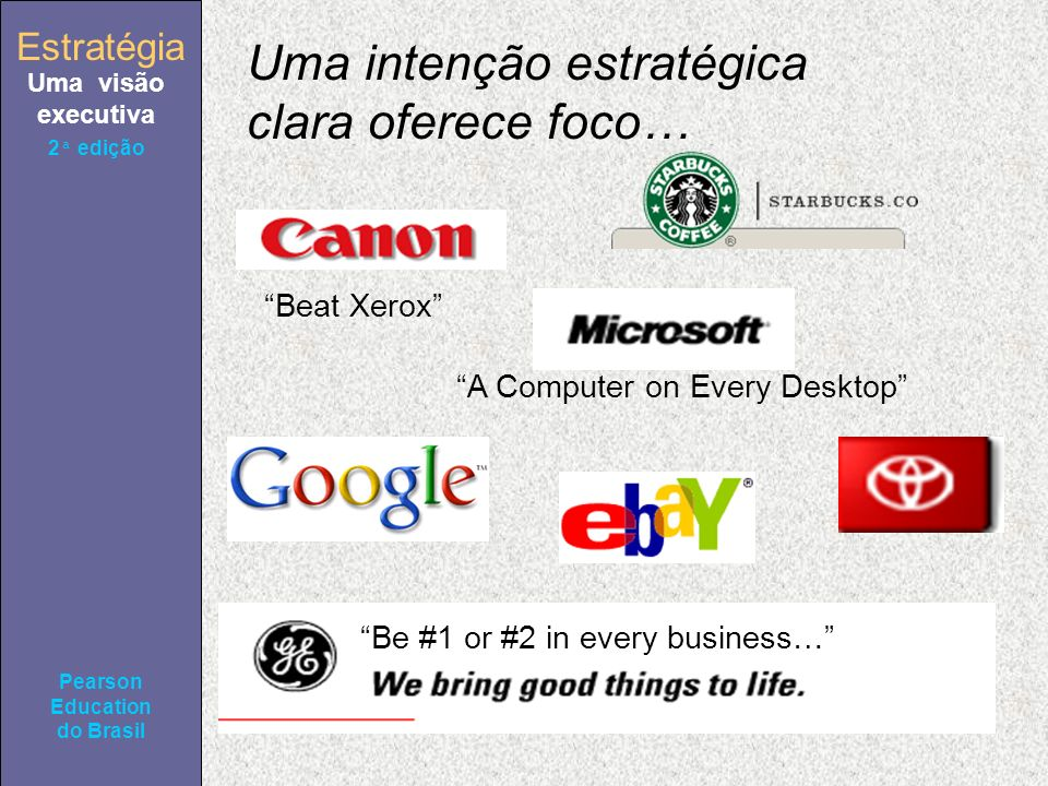 Estratégia Uma visão executiva Pearson Education do Brasil 2ª edição Uma intenção estratégica clara oferece foco… Beat Xerox A Computer on Every Deskt