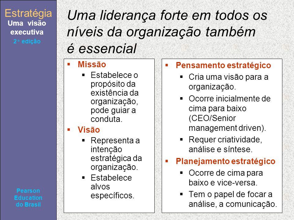 Estratégia Uma visão executiva Pearson Education do Brasil 2ª edição Uma liderança forte em todos os níveis da organização também é essencial Missão Estabelece o propósito da existência da organização, pode guiar a conduta.
