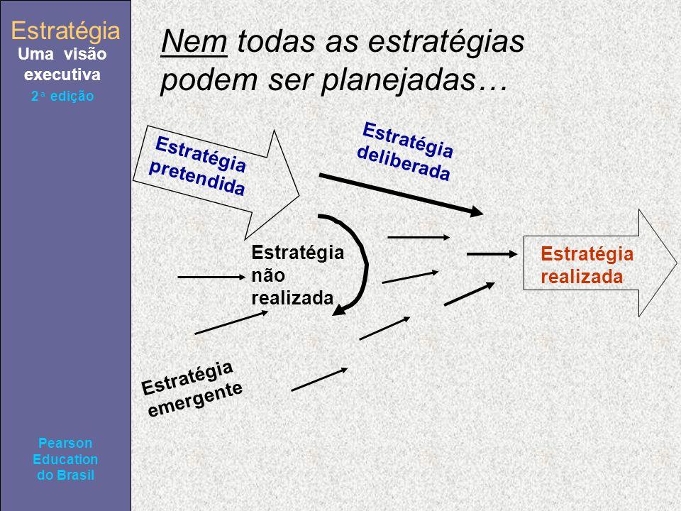 Estratégia Uma visão executiva Pearson Education do Brasil 2ª edição Nem todas as estratégias podem ser planejadas… Estratégia pretendida Estratégia emergente Estratégia não realizada Estratégia deliberada Estratégia realizada