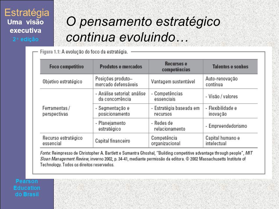 Estratégia Uma visão executiva Pearson Education do Brasil 2ª edição O pensamento estratégico continua evoluindo…