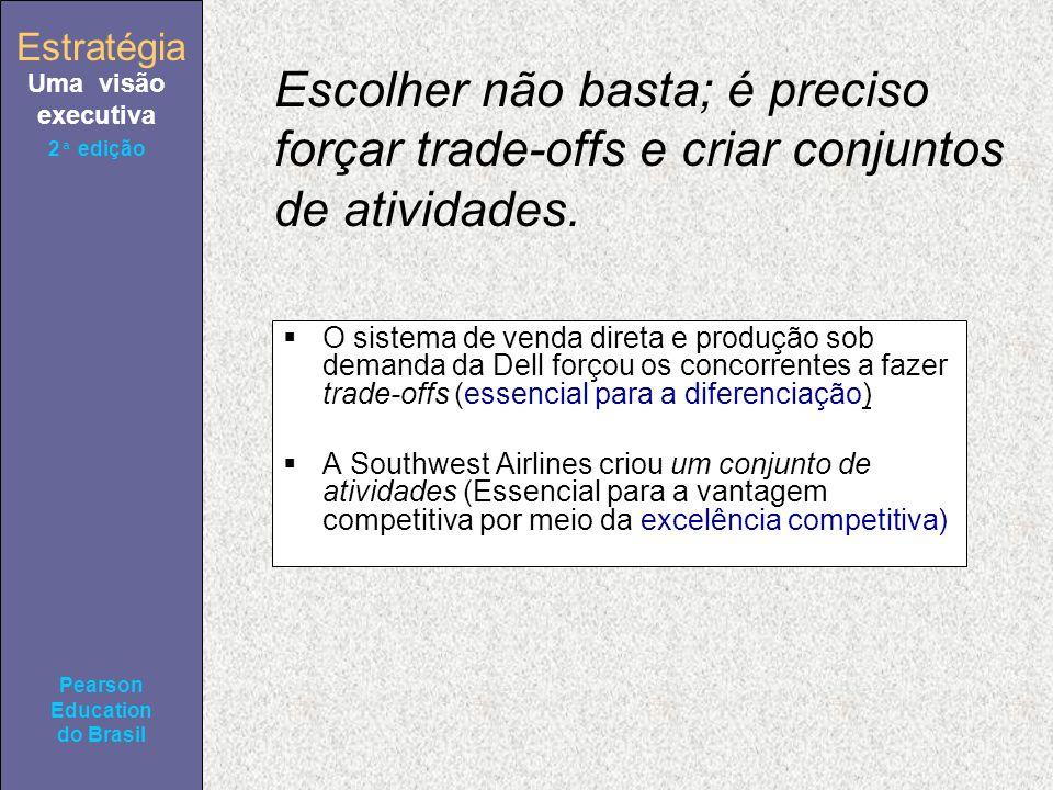 Estratégia Uma visão executiva Pearson Education do Brasil 2ª edição Escolher não basta; é preciso forçar trade-offs e criar conjuntos de atividades.