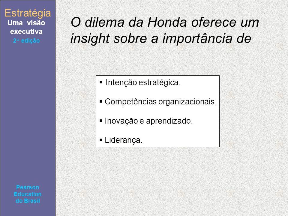 Estratégia Uma visão executiva Pearson Education do Brasil 2ª edição O dilema da Honda oferece um insight sobre a importância de Intenção estratégica.