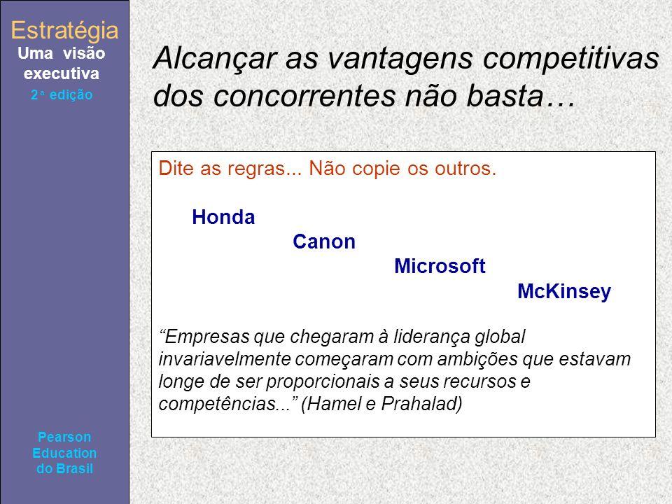 Estratégia Uma visão executiva Pearson Education do Brasil 2ª edição Alcançar as vantagens competitivas dos concorrentes não basta… Dite as regras...