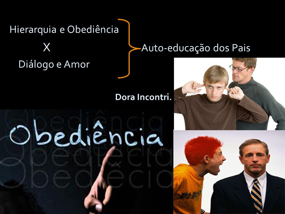 12 Hierarquia e Obediência Hierarquia e Obediência X Auto-educação dos Pais X Auto-educação dos Pais Diálogo e Amor Diálogo e Amor Dora Incontri. Dora
