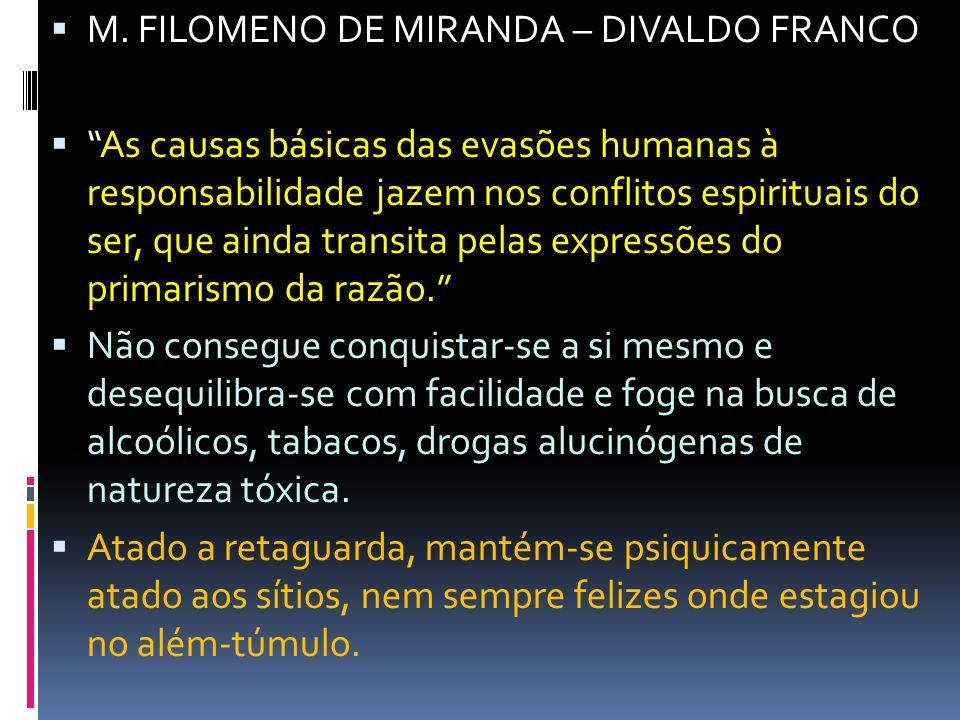 M. FILOMENO DE MIRANDA – DIVALDO FRANCO As causas básicas das evasões humanas à responsabilidade jazem nos conflitos espirituais do ser, que ainda tra