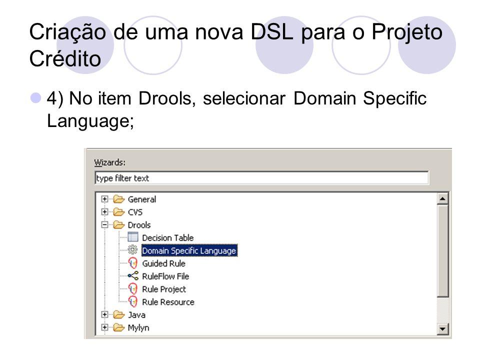 Criação de uma nova DSL para o Projeto Crédito 5) Criar um arquivo chamado credito.dsl; 6) Este arquivo será responsável por fazer a conversão do formato DSL para o formato da DRL.