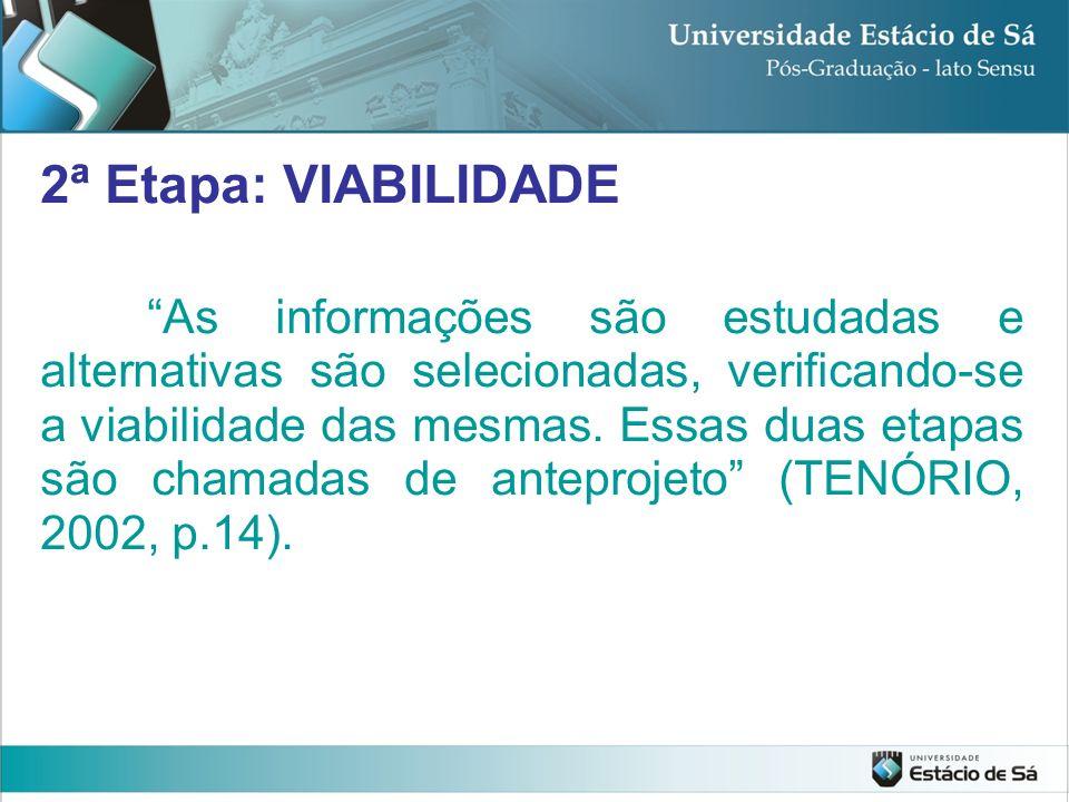 2ª Etapa: VIABILIDADE As informações são estudadas e alternativas são selecionadas, verificando-se a viabilidade das mesmas. Essas duas etapas são cha