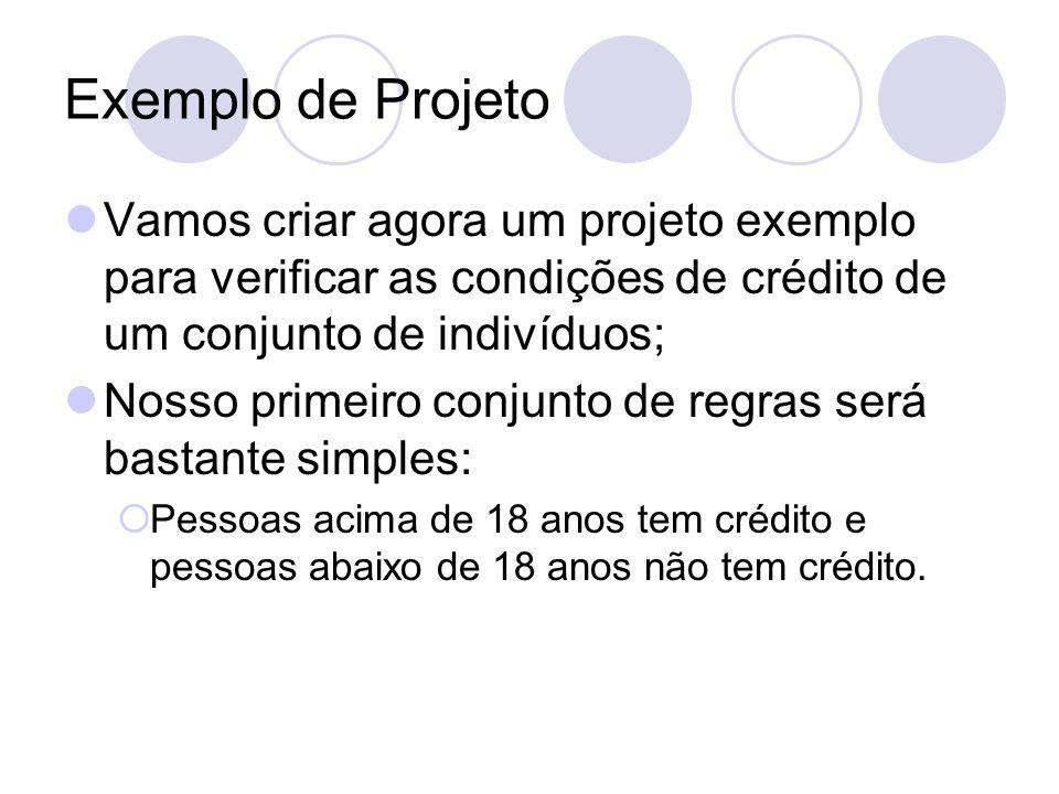 Exemplo de Projeto Vamos criar agora um projeto exemplo para verificar as condições de crédito de um conjunto de indivíduos; Nosso primeiro conjunto d