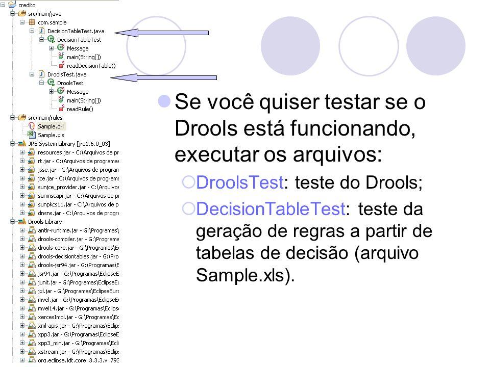 Se você quiser testar se o Drools está funcionando, executar os arquivos: DroolsTest: teste do Drools; DecisionTableTest: teste da geração de regras a