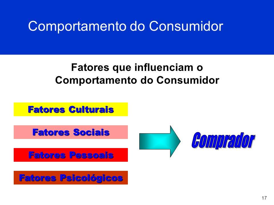 17 Fatores que influenciam o Comportamento do Consumidor Fatores Culturais Fatores Sociais Fatores Pessoais Fatores Psicológicos Comportamento do Cons
