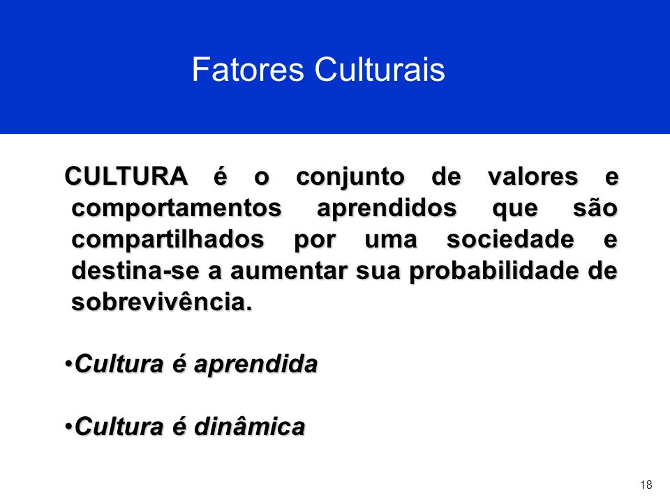 18 Fatores Culturais CULTURA é o conjunto de valores e comportamentos aprendidos que são compartilhados por uma sociedade e destina-se a aumentar sua probabilidade de sobrevivência.