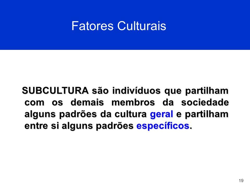 19 Fatores Culturais SUBCULTURA são indivíduos que partilham com os demais membros da sociedade alguns padrões da cultura geral e partilham entre si alguns padrões específicos.