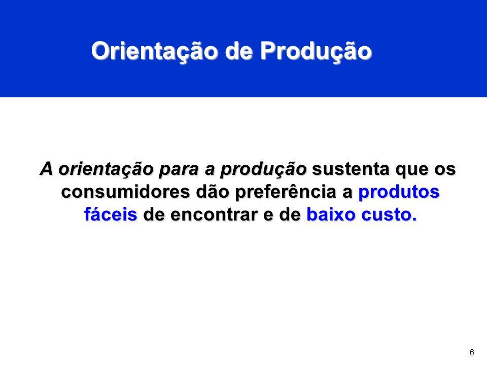 6 Orientação de Produção A orientação para a produção sustenta que os consumidores dão preferência a produtos fáceis de encontrar e de baixo custo.
