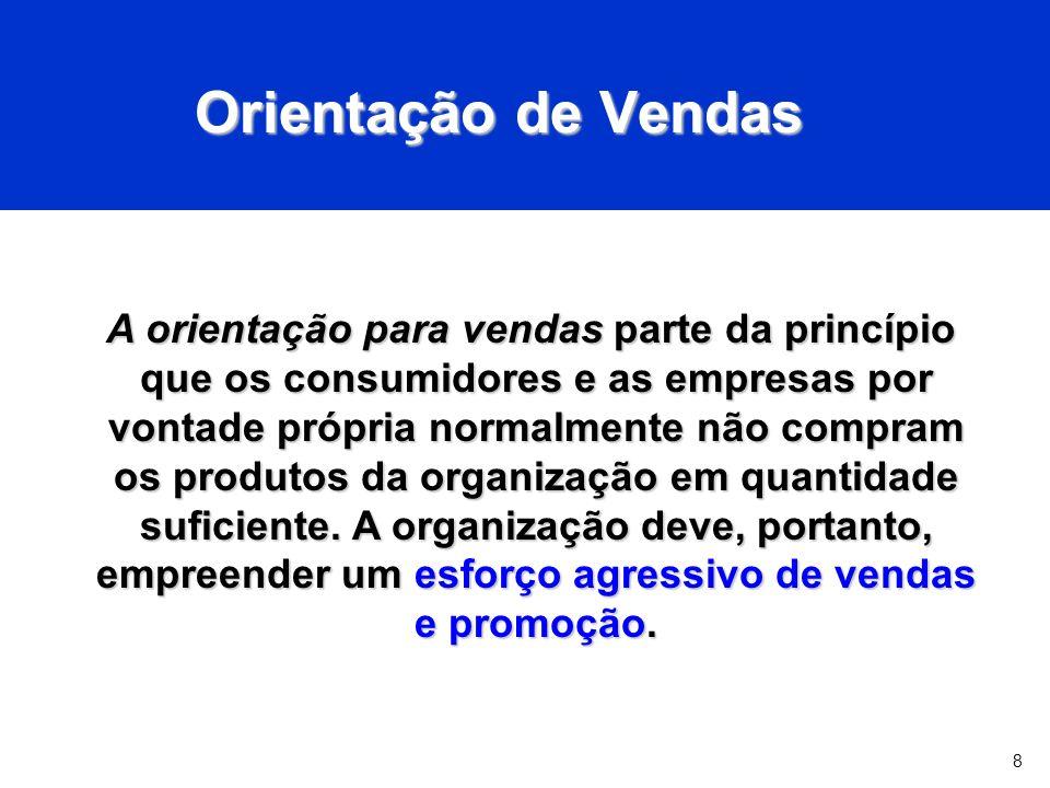 8 Orientação de Vendas A orientação para vendas parte da princípio que os consumidores e as empresas por vontade própria normalmente não compram os produtos da organização em quantidade suficiente.