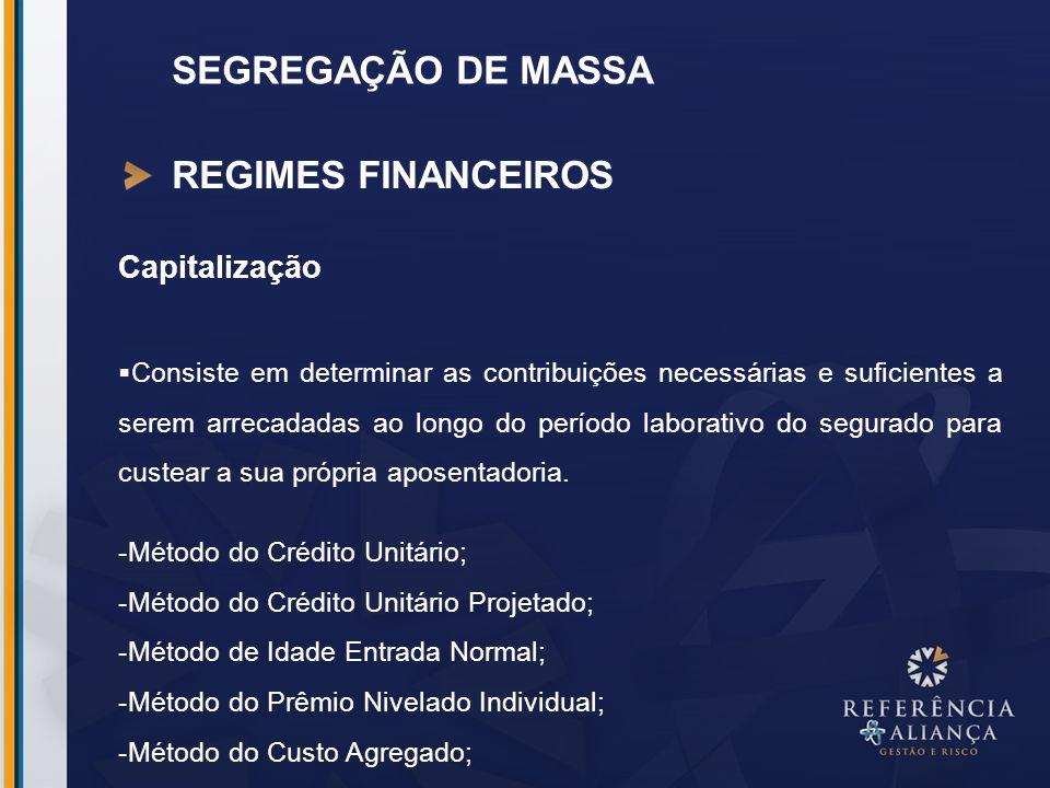 SEGREGAÇÃO DE MASSA REGIMES FINANCEIROS Capitalização Consiste em determinar as contribuições necessárias e suficientes a serem arrecadadas ao longo d